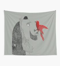 Darwin and red bird Wall Tapestry