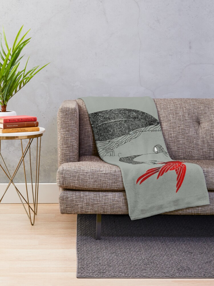 Alternate view of Darwin and red bird Throw Blanket