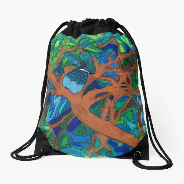 A Very Pretty Peacock in a Pear Tree Drawstring Bag