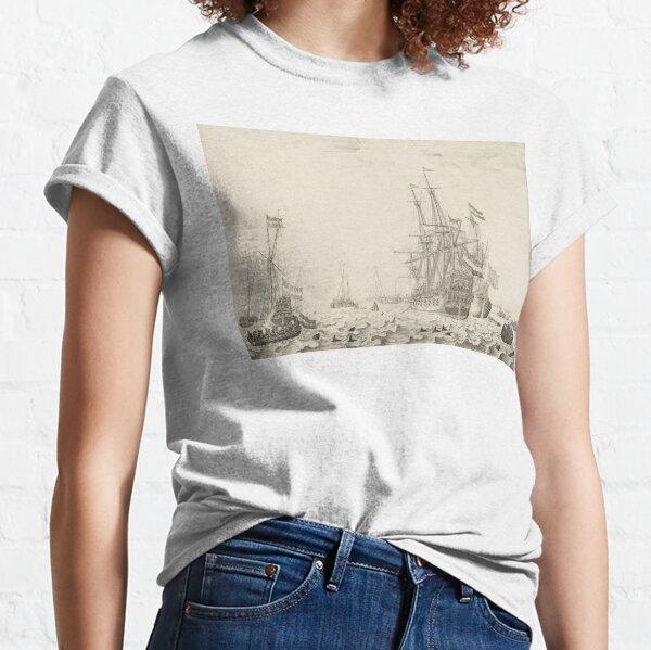 Dutch Ships near the Coast Oil Painting by Willem van de Velde the Elder Classic T-Shirt