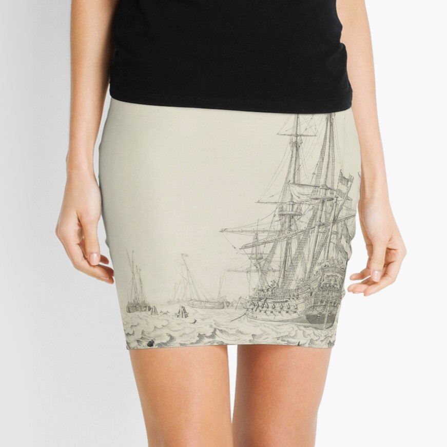 Dutch Ships near the Coast Oil Painting by Willem van de Velde the Elder Mini Skirt