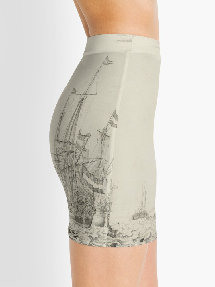 Alternate view of Dutch Ships near the Coast Oil Painting by Willem van de Velde the Elder Mini Skirt