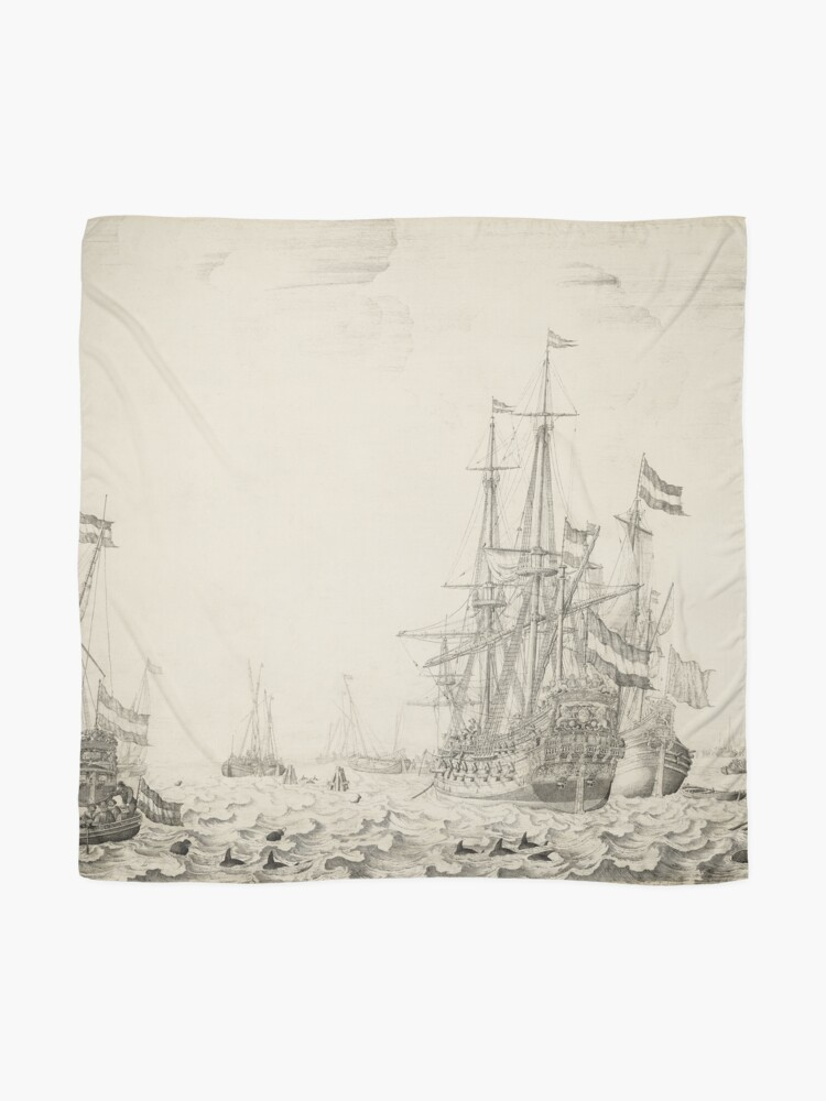 Alternate view of Dutch Ships near the Coast Oil Painting by Willem van de Velde the Elder Scarf