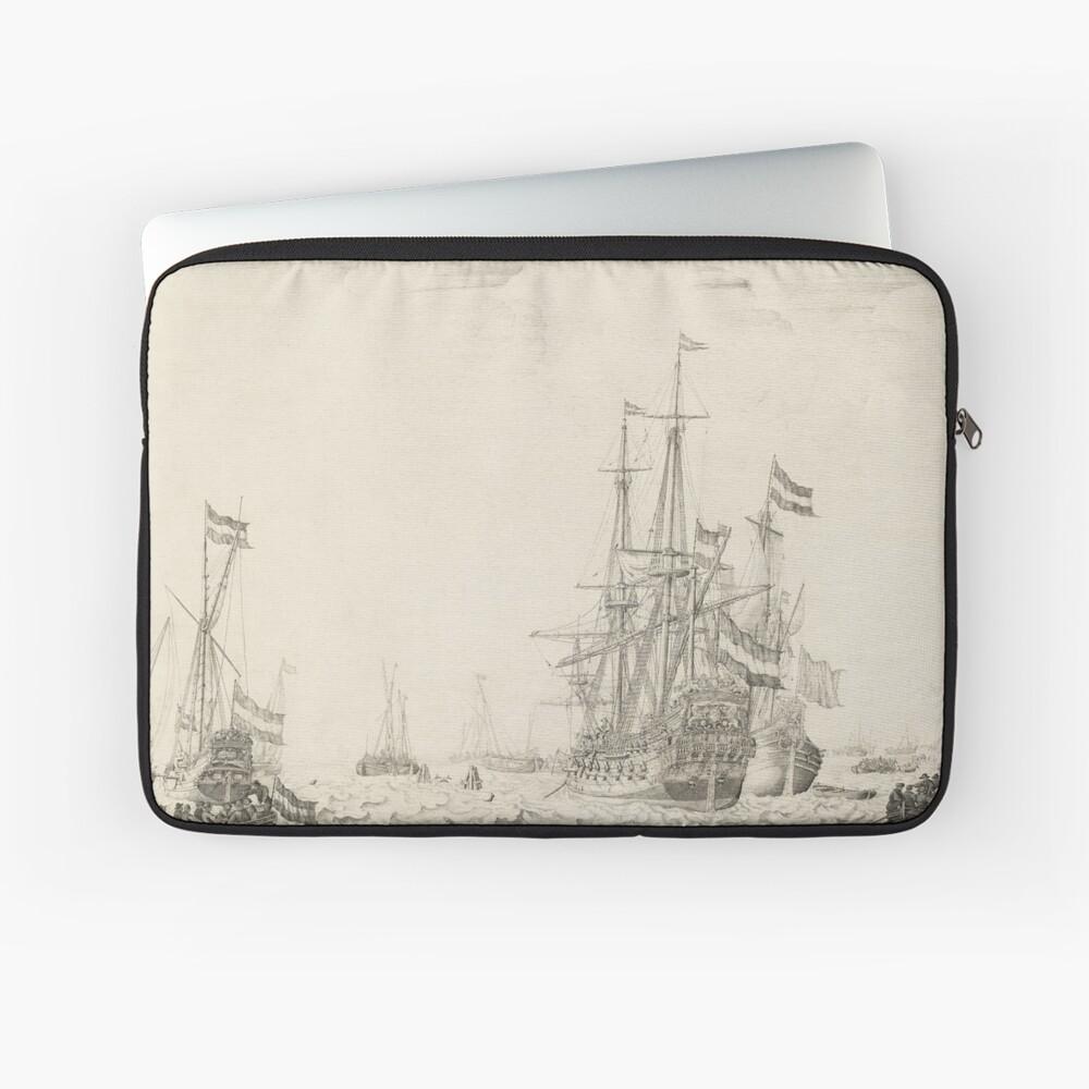 Dutch Ships near the Coast Oil Painting by Willem van de Velde the Elder Laptop Sleeve