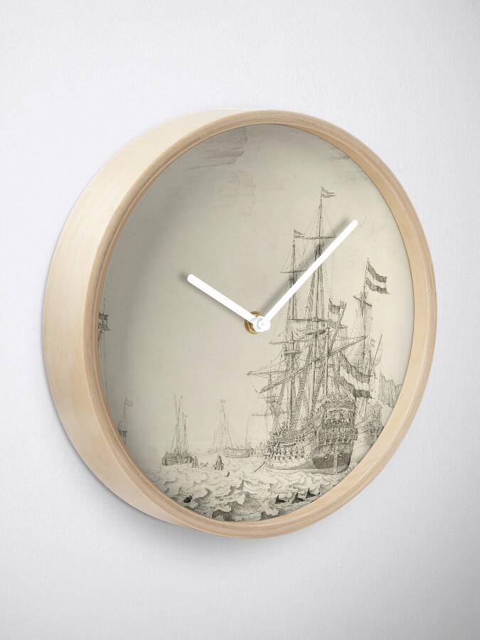 Alternate view of Dutch Ships near the Coast Oil Painting by Willem van de Velde the Elder Clock