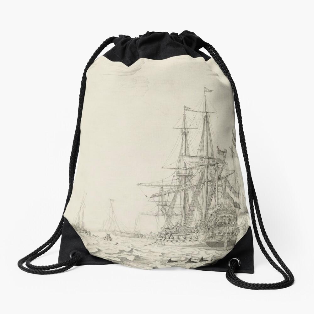 Dutch Ships near the Coast Oil Painting by Willem van de Velde the Elder Drawstring Bag