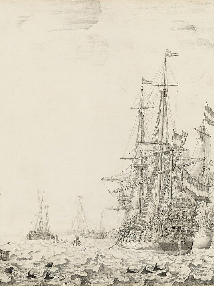 Dutch Ships near the Coast Oil Painting by Willem van de Velde the Elder by podartist
