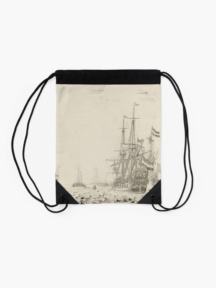Alternate view of Dutch Ships near the Coast Oil Painting by Willem van de Velde the Elder Drawstring Bag