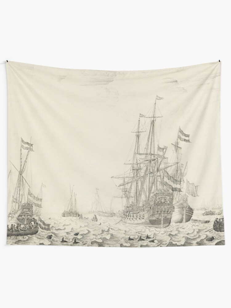Alternate view of Dutch Ships near the Coast Oil Painting by Willem van de Velde the Elder Tapestry