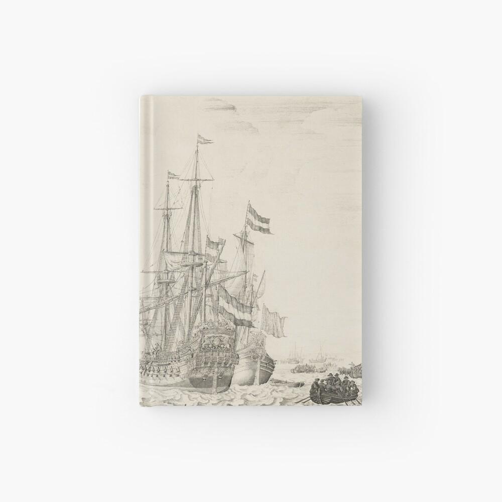 Dutch Ships near the Coast Oil Painting by Willem van de Velde the Elder Hardcover Journal