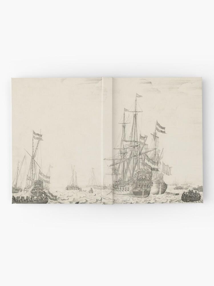 Alternate view of Dutch Ships near the Coast Oil Painting by Willem van de Velde the Elder Hardcover Journal