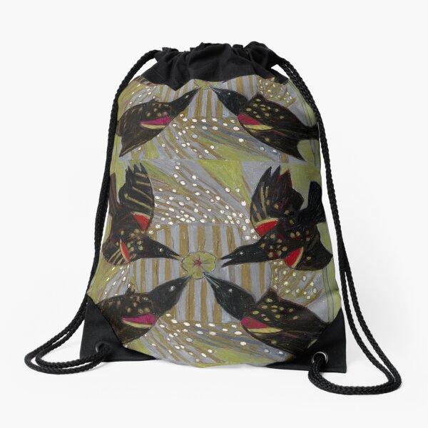 Four Calling Birds Drawstring Bag