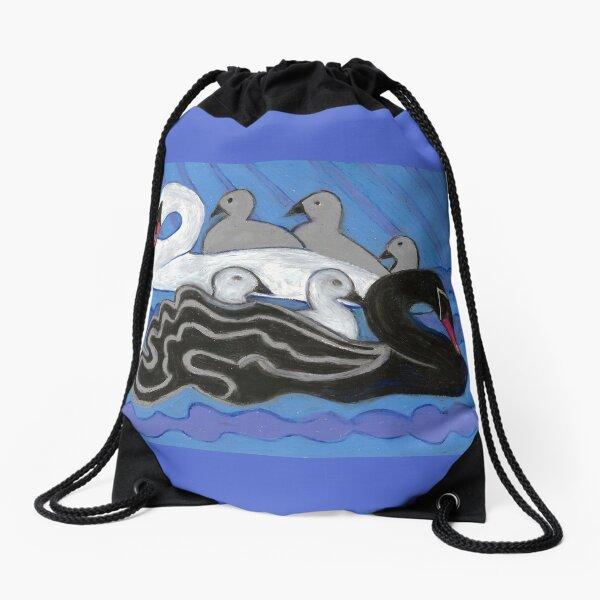 Seven Swans Swimming Drawstring Bag