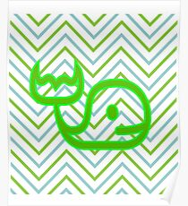 Zig Zag Whale Patterned Design Poster