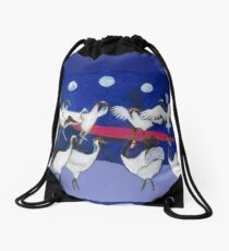 Nine Dancing Cranes Drawstring Bag
