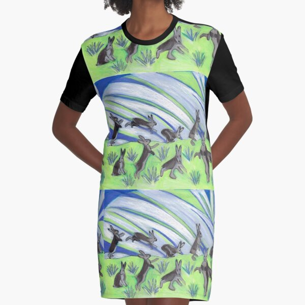 Ten Leaping Hares Graphic T-Shirt Dress