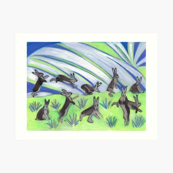 Ten Leaping Hares Art Print