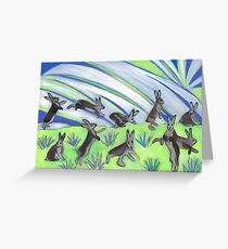 Ten Leaping Hares Greeting Card