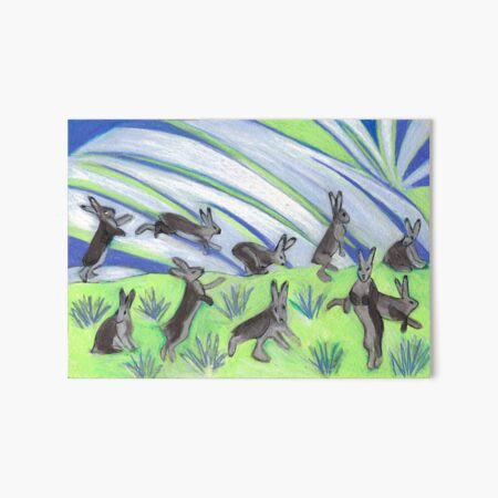 Ten Leaping Hares Art Board Print
