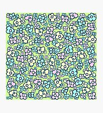 Cheerful Little Folk Art Flowers Spring Green Photographic Print