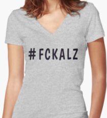 Hashtag FCKALZ in Grey Women's Fitted V-Neck T-Shirt