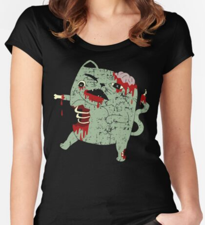 Zombie Cat Fitted Scoop T-Shirt