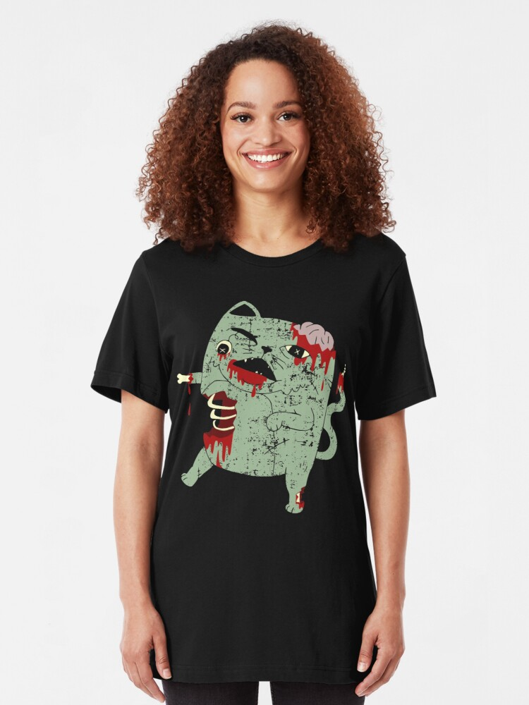 Alternate view of Zombie Cat Slim Fit T-Shirt