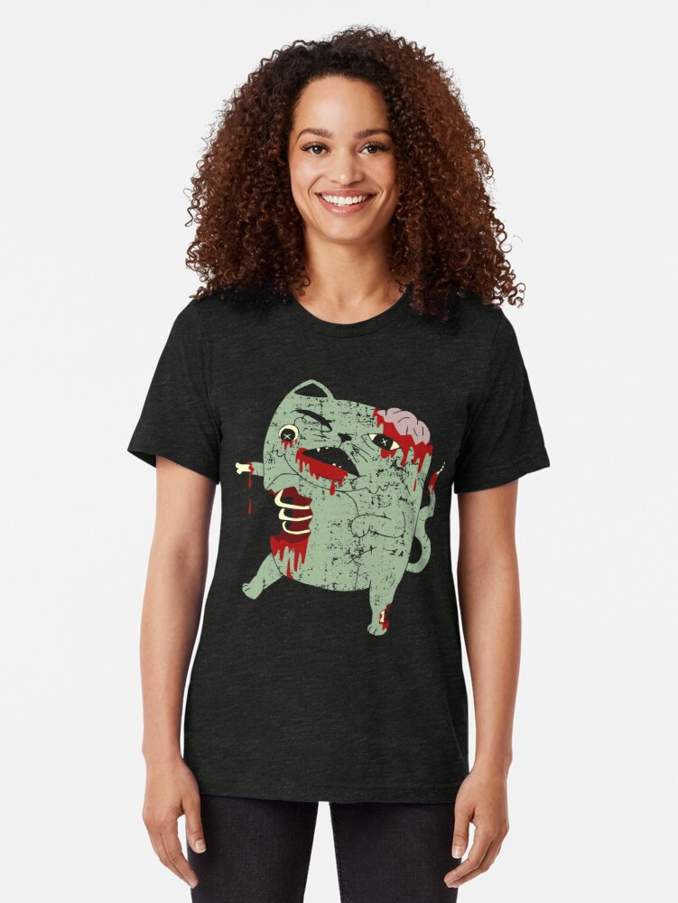 Alternate view of Zombie Cat Tri-blend T-Shirt