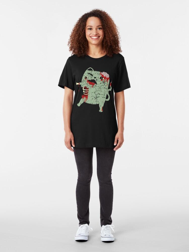 Alternate view of Zombie Cat Slim Fit T-Shirt