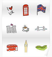 I Heart United Kingdom, British Love, UK landmarks Poster
