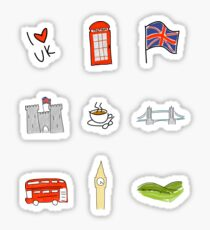 I Heart United Kingdom, British Love, UK landmarks Sticker
