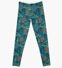Japanese Garden in Teal Gold Red and Black Leggings