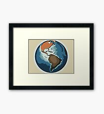 Planet earth color sketch (american continent) 1 Framed Print