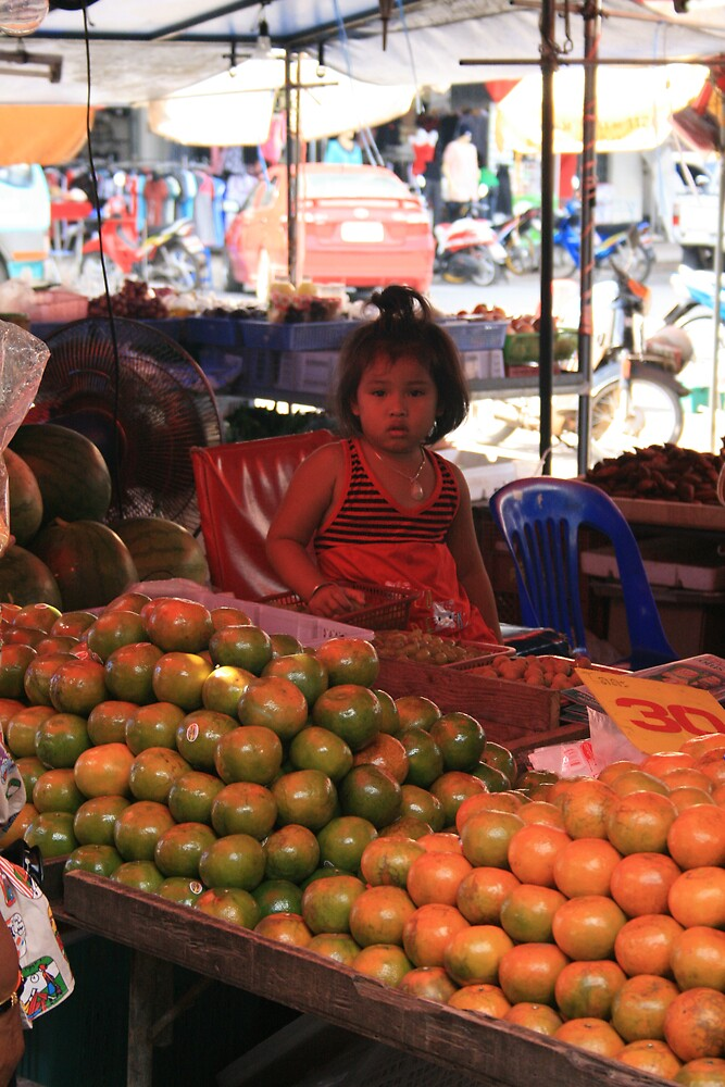 Little Girl in the Fruit Stand by lemontree