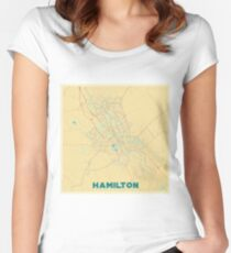 Hamilton Map Retro Women's Fitted Scoop T-Shirt