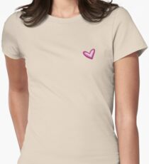 Pretty Purple Heart Print, Watercolor Painted Love Hearts Womens Fitted T-Shirt