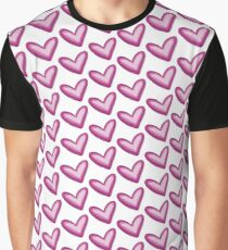Pretty Purple Heart Print, Watercolor Painted Love Hearts Graphic T-Shirt