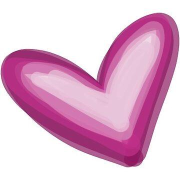 Pretty Purple Heart Print, Watercolor Painted Love Hearts by mDeltaV
