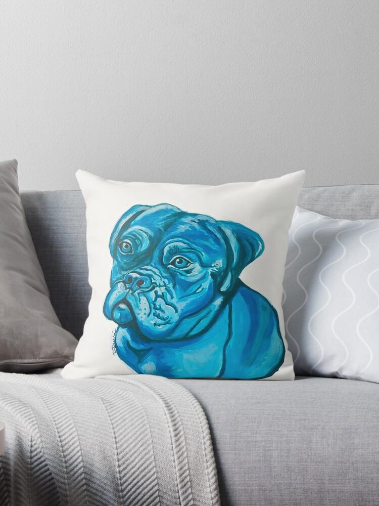 Blue Pitbull Dog by artsybarncat