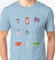I Heart United Kingdom, British Love, UK landmarks Unisex T-Shirt