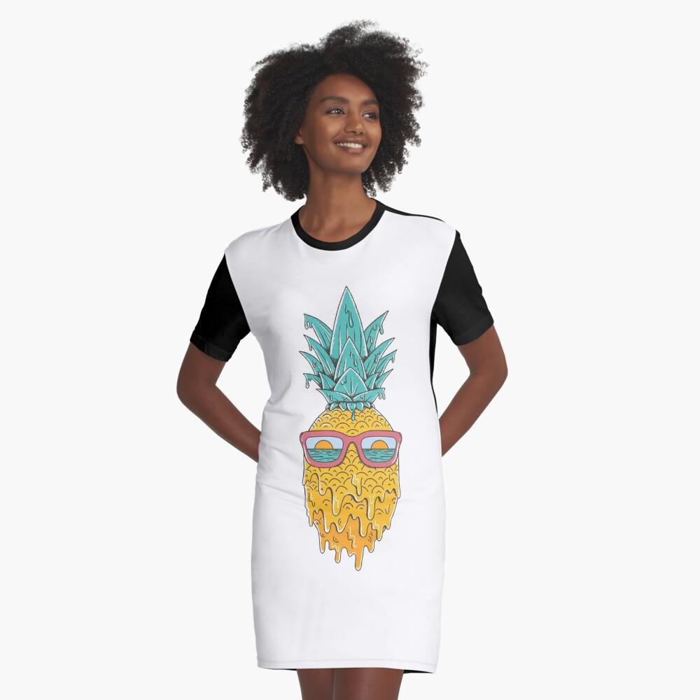 Pineapple Summer Graphic T-Shirt Dress