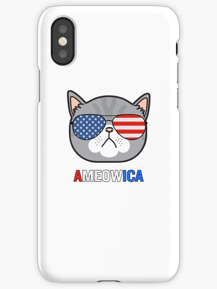 Ameowica Cat Sunglasses Funny Pun Patriot by JapaneseInkArt
