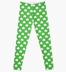 White Heart-Shaped Clover on Green St. Patricks Day Leggings