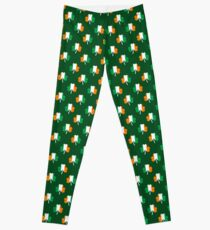 Irish Flag Green White Orange on Green St. Patricks Day Ireland Leggings