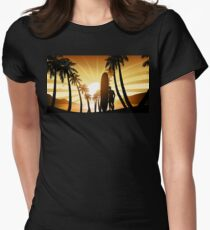 Long board at sunrise Womens Fitted T-Shirt