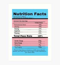 Trans Nutrition Facts  Art Print