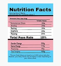 Trans Nutrition Facts  Photographic Print