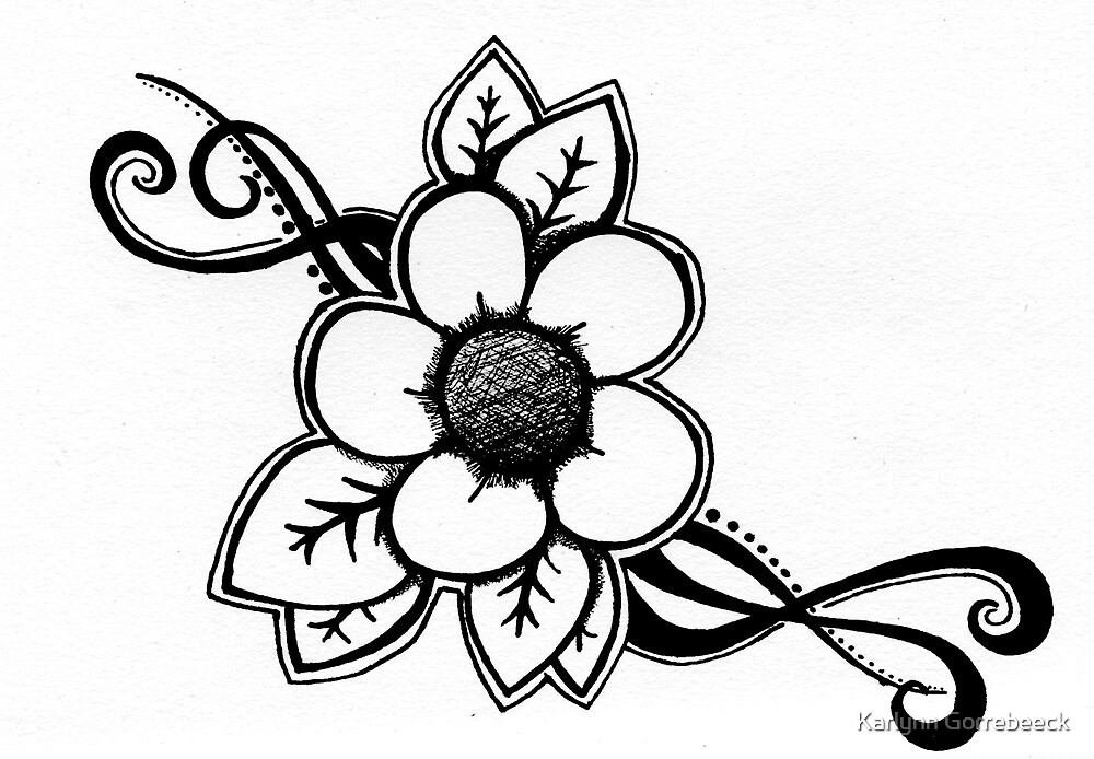 Simple Flower and Vines by Karlynn Gorrebeeck