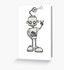 Peace Robot - Black Lines Greeting Card