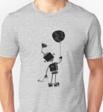Peace Robot with Earth Balloon - Black Unisex T-Shirt